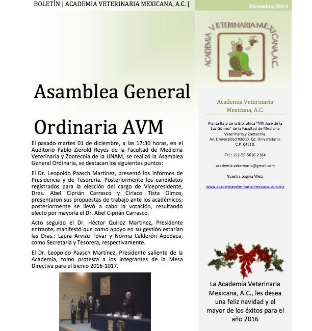 Cambia el equipo de Gobierno de la Academia Veterinaria Mexicana