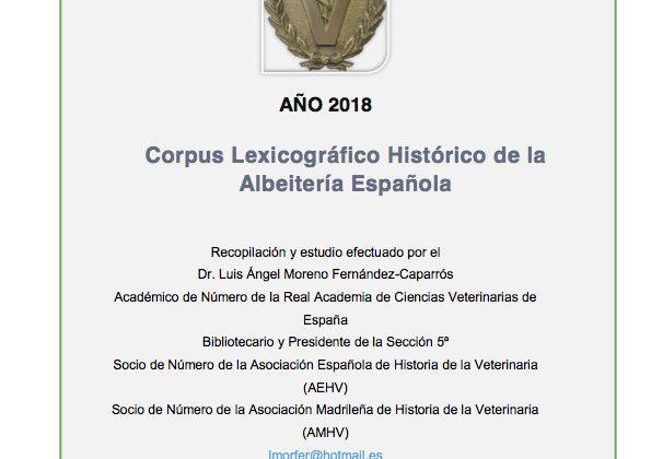 «Corpus Lexicográfico Histórico de la Albeitería Española» 2018