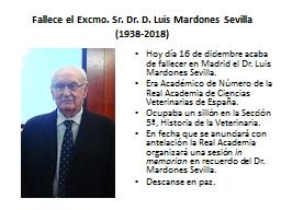 Fallece el Excmo. Sr. Dr. D. Luis Mardones Sevilla(1938-2018)