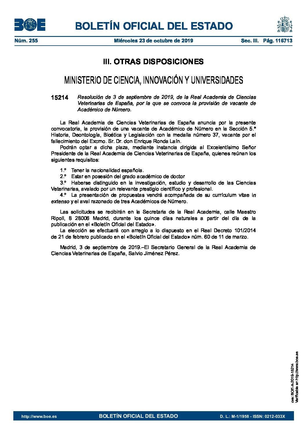 Convocatoria plaza Académico de Número Sección 5ª