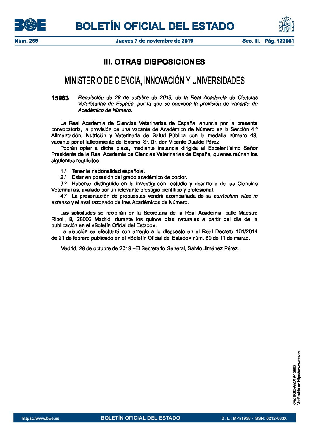 Convocatoria plaza Académico de Número Sección 4ª
