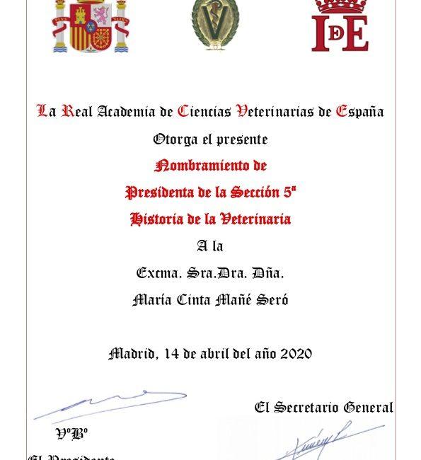 La Excma. Sra. Dña. María Cinta Mañé Seró, nueva Presidenta de la Sección 5ª, Historia de la Veterinaria