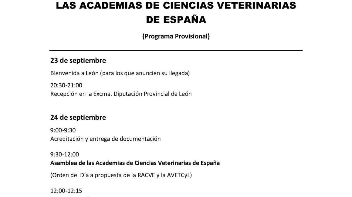 León, sede de la V Asamblea y Encuentro Científico de las Academias de Ciencias Veterinarias de España
